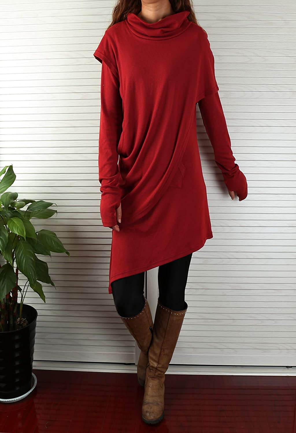 Free Shipping - Women's Asymmetrical Cotton Tunic Dress Red