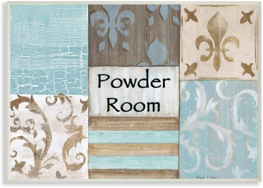Stupell Industries The Stupell Home Decor Collection Fleur de Lis Powder Room Blue, Brown and Beige Bathroom Wall Plaque, 10 x 15, Design by Artist Bonnie Wrublesky