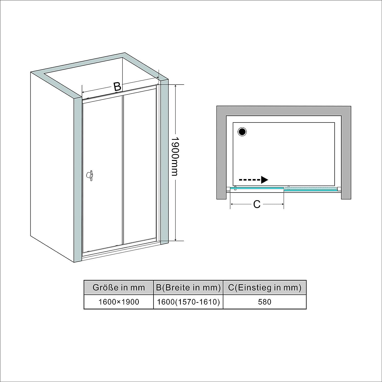 160cm Duschabtrennung Duscht/ür Nischent/ür Schiebet/ür Duschwand 6mm ESG Glas H/öhe 190cm