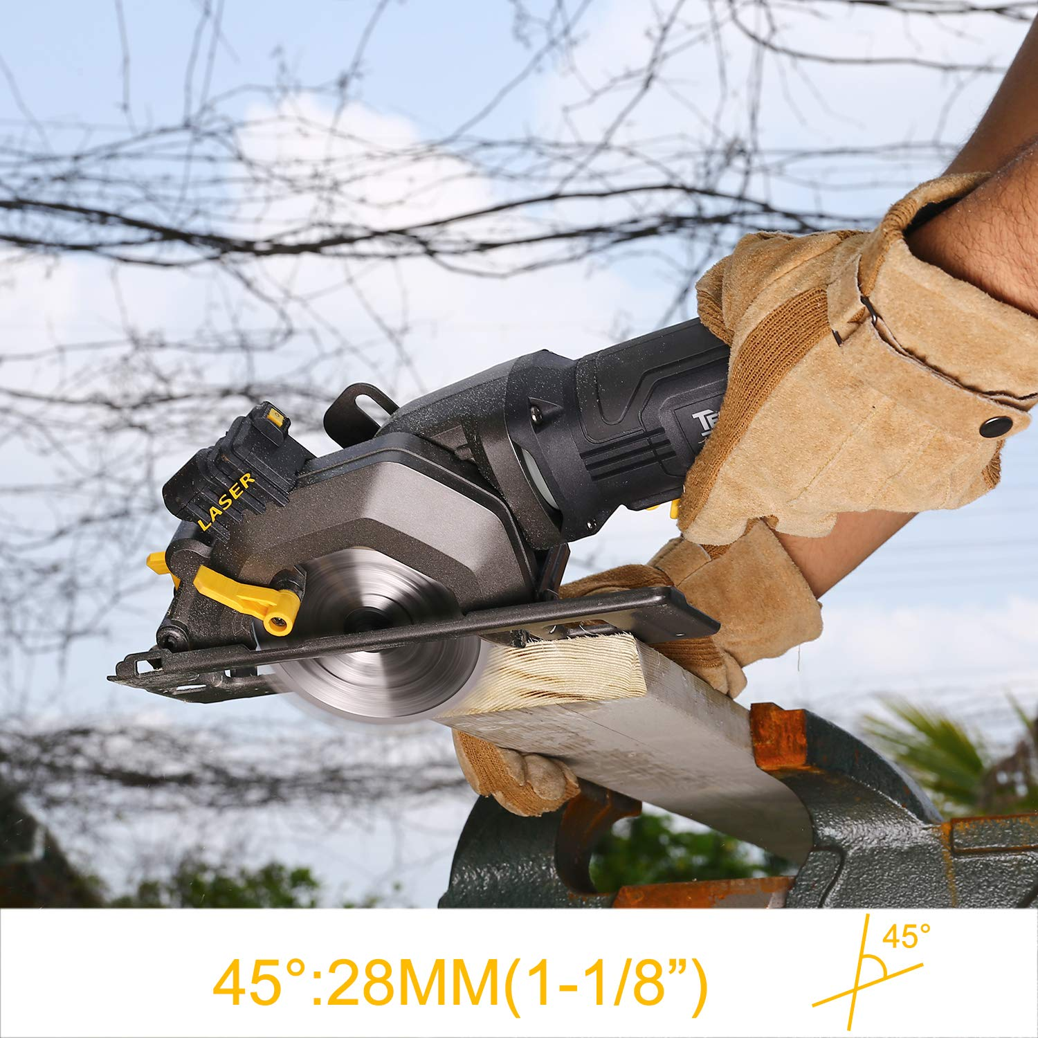 Mini Circular Saw The Best Choice for Cutting Wood. -TAMS24P Convenient and Simple Speed 3500 RPM TECCPO 480W Blade Diameter 115 mm Pure Copper Wire Motor with Laser Light