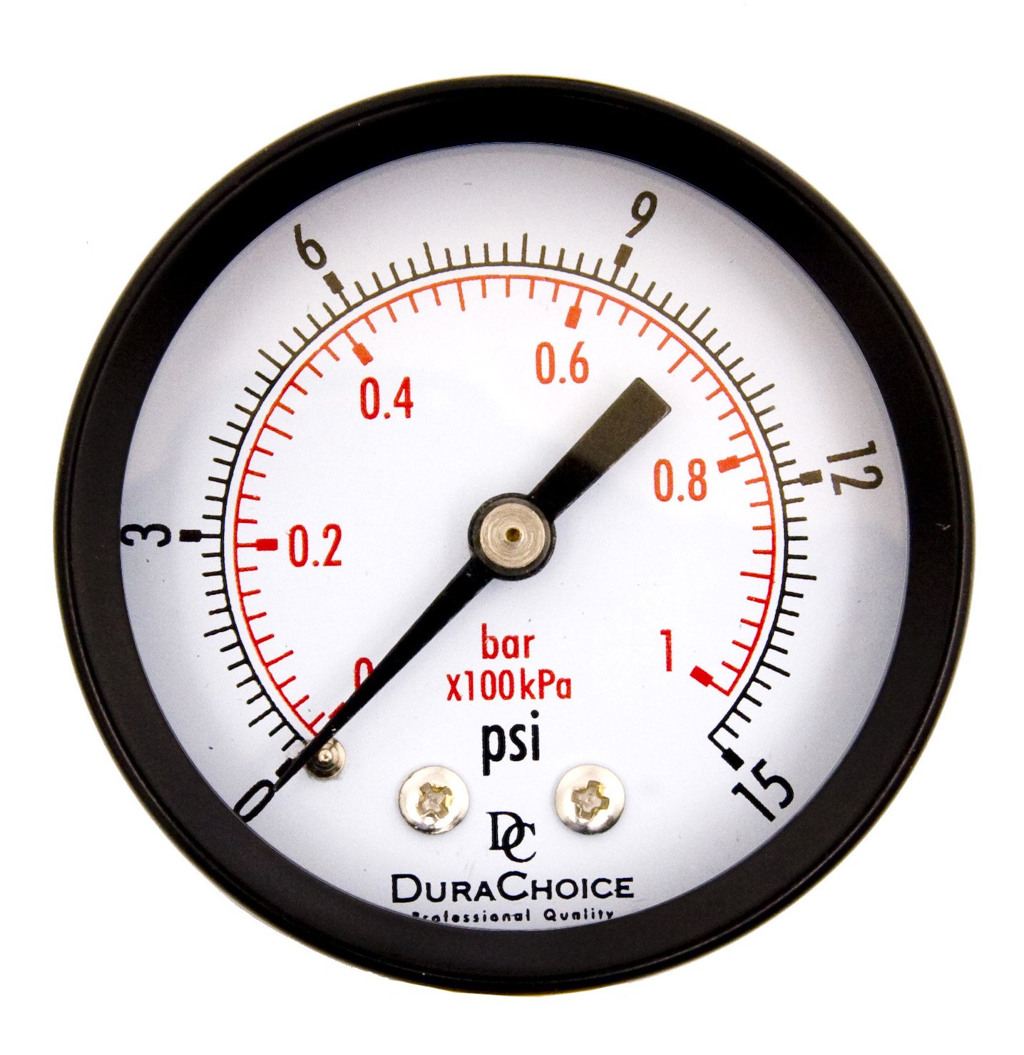 DuraChoice 2 Dial Utility Pressure Gauge for Air Compressor Water Oil Gas 1 4 NPT Center Back Mount Black Steel Case 0 15 PSI