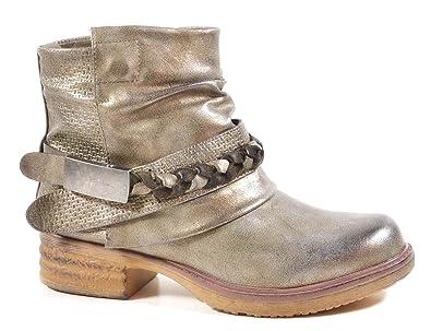 69ec88f1d50e Damen Stiefeletten Biker Boots Nieten Schnallen Knöchelhohe Stiefel Leder-Optik  QBZ  Amazon.de  Schuhe   Handtaschen