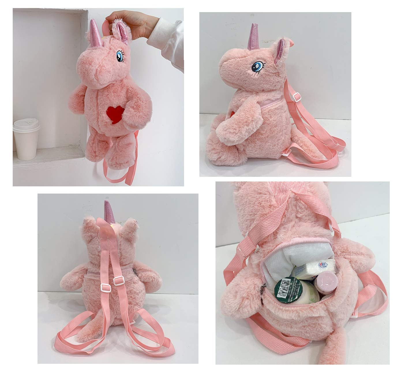 TIGOR Cute Plush Unicorn Backpack, Mini Unicorn Backpack, 3D Unicorn Backpack, Soft Rainbow Backbag Sweet Girls Daughter Gifts (N - 3D Pink)