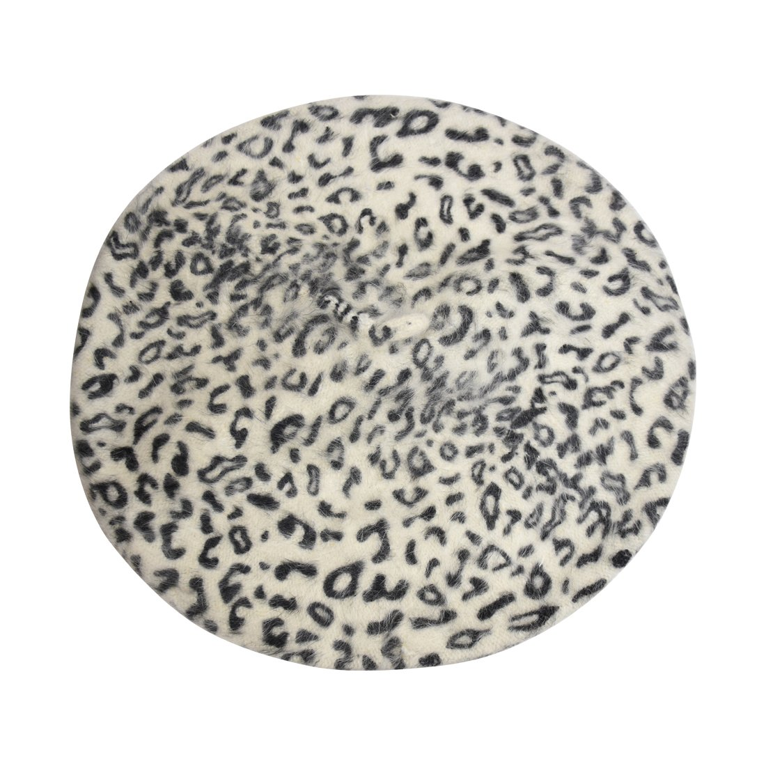 Landana Headscarves Wool Ladies Winter Beret - White Leopard