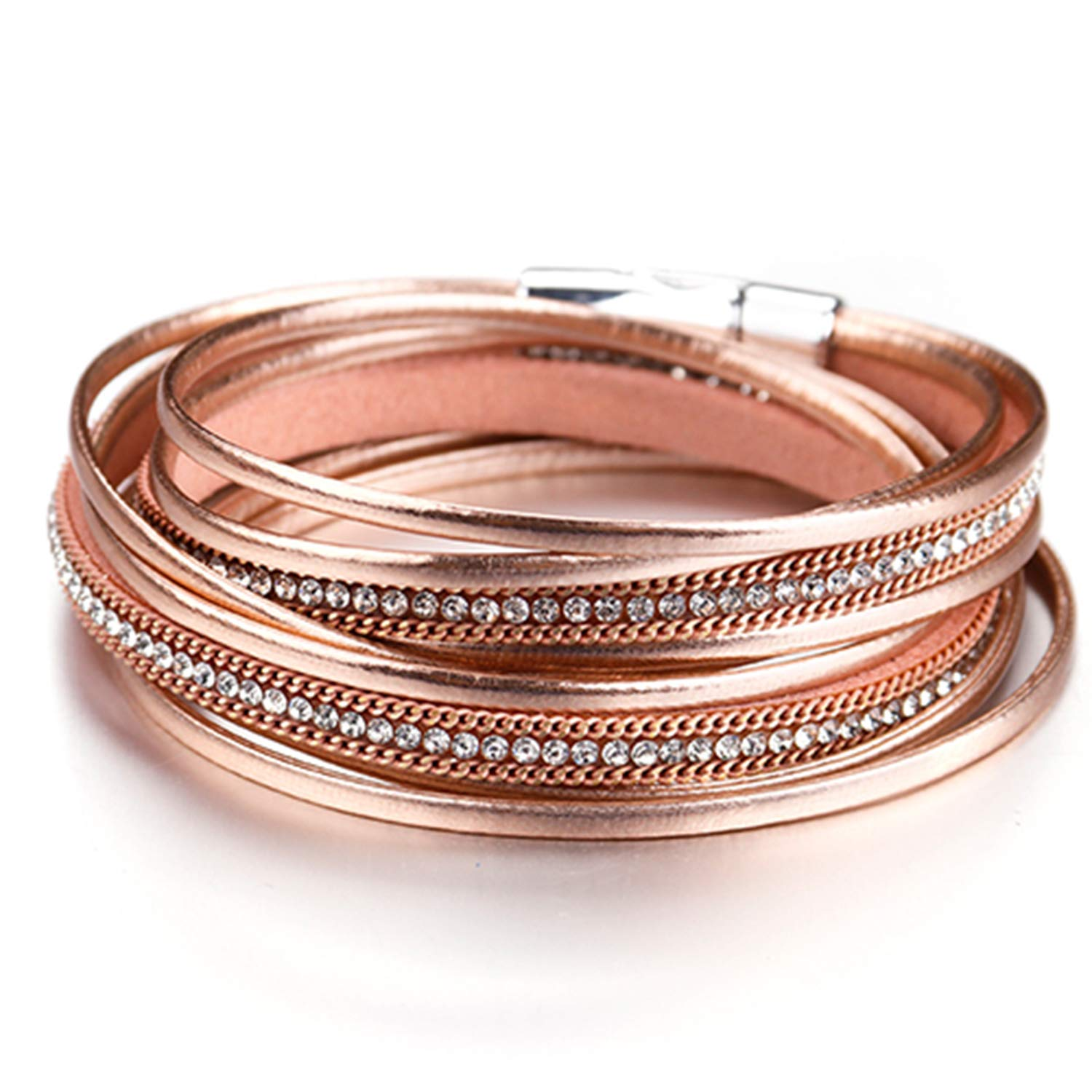 AngelLove bracelets Multiple Colour Alloy Rhinestones Leather Bangles Crystal Buckle for Women Jewelry Hot Gift