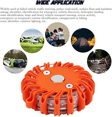ALLOMN Rechargeable Waterproof 16-LED Warning Light with 9 Modes Flashlight Strobe Magnetic Base for Marine Boat Rescue Camping Hiking LED Road Flares Emergency Beacon Car Safety Light Orange
