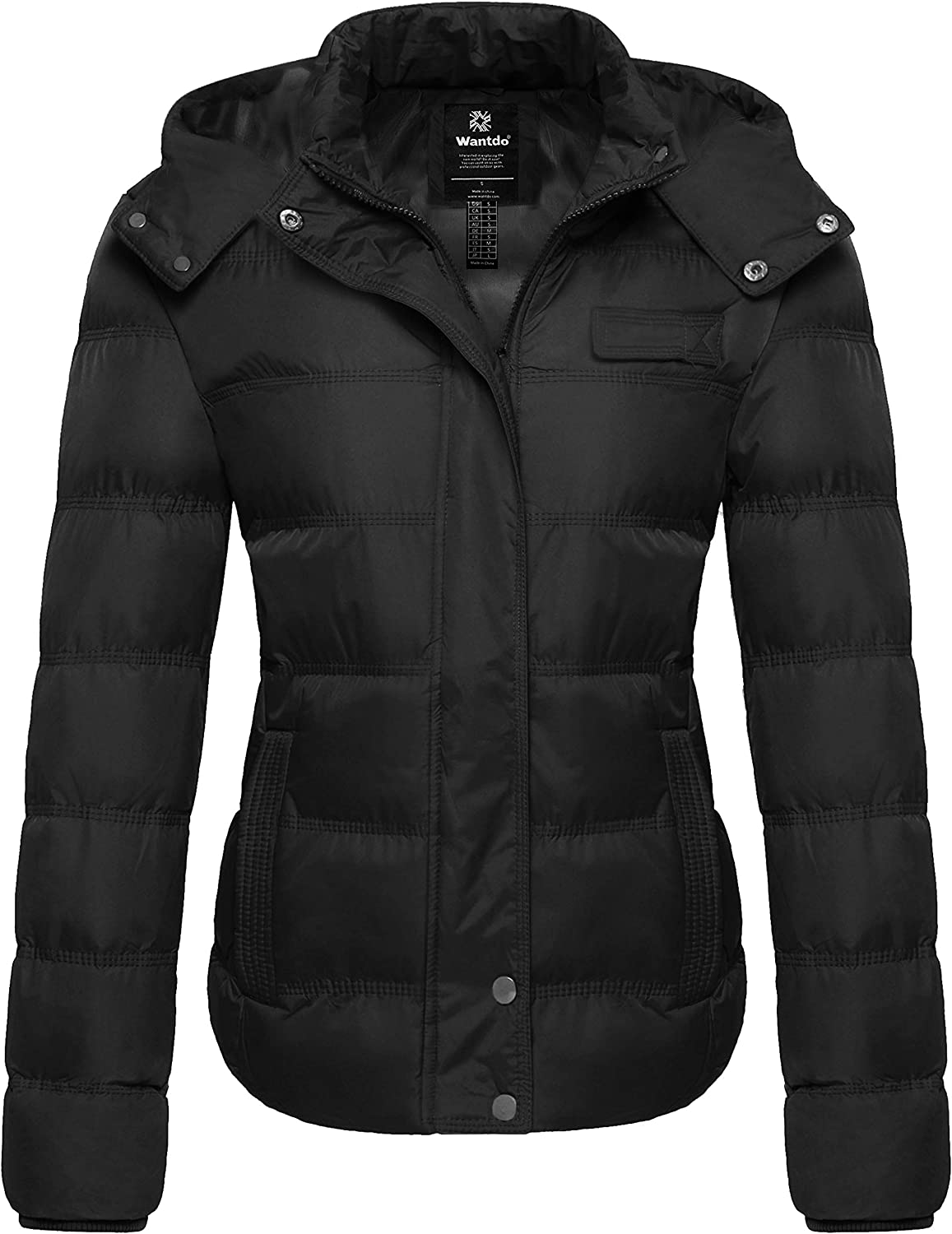 Wantdo Women's Hooded Warm Winter Coat Quilted Thicken Puffer Jacket with Removable Hood: Clothing