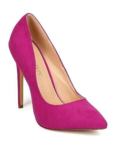 5e4161f29f Women Suede Pointy Toe Single Sole Classic Stiletto Pump ED91 - Purple  (Size: 5.5