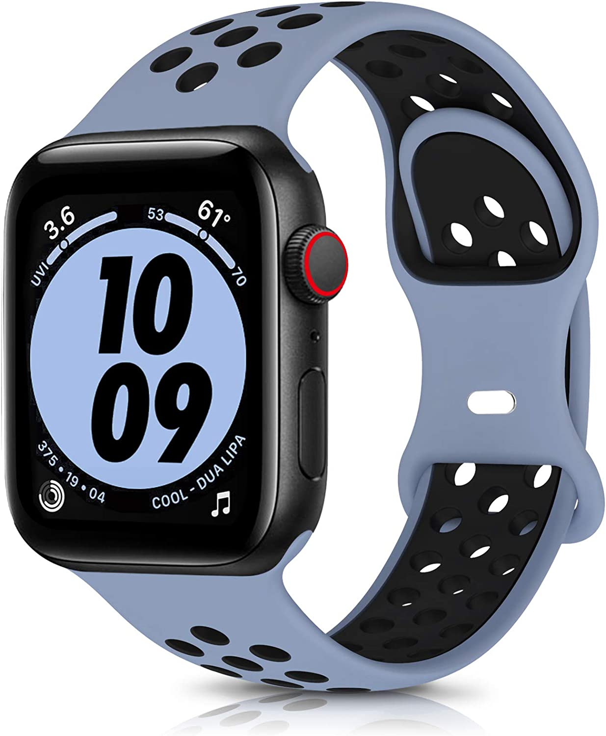 OYODSS Sport Bands Compatible with Apple Watch Band 38mm 40mm 42mm 44mm, Breathable Soft Silicone Replacement Wristband Compatible with iWatch Series 6 5 4 3 2 1 SE Women Men Obsidian Mist&Black