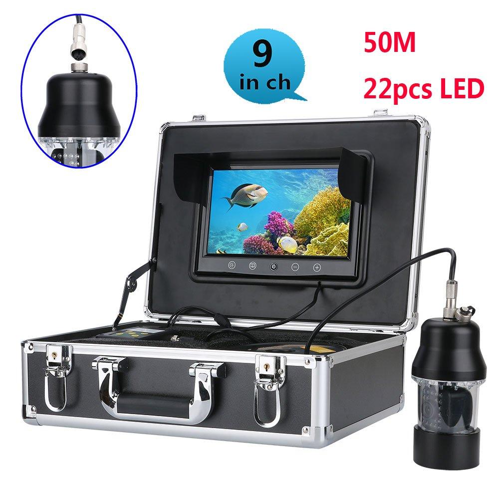 50メートルプロフェッショナル水中釣りビデオカメラ魚群探知機9インチカラースクリーン防水22 led 360度回転カメラ