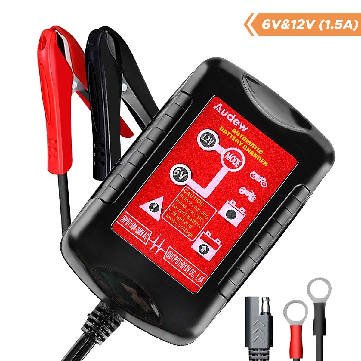 Audew Automatik-Ladegerät Ladegerät KFZ Batterieladegerät Vollautomatisches Ladegerät 6V 12V Ideal für PKW Motorrad Roller oder Boot/Inkl. Polklemmen – EU Stecker