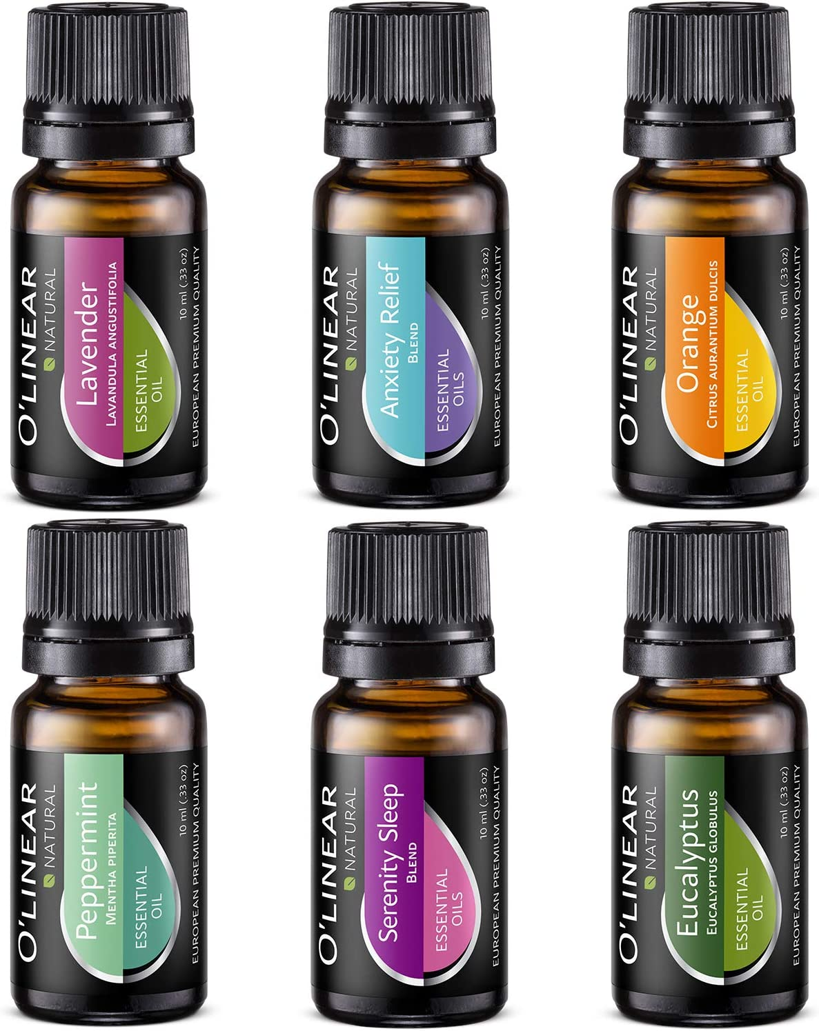 Essential Oils Set - Top 6 (4 Oils & 2 Blends) Essential Oils for Diffusers for Home, Aromatherapy Humidifiers and Soul - Anxiety Relief, Sleep, Peppermint Oil, Orange, Lavender, Eucalyptus