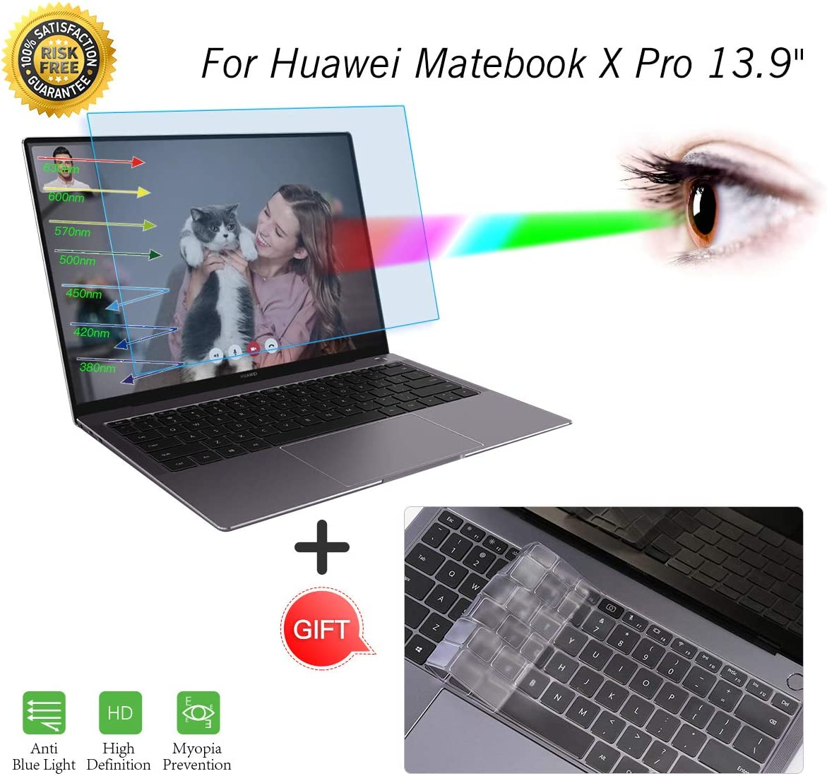 YOUPECK Laptop Screen Protector for Huawei MateBook X 2-Pack Computer Guard Film for Huawei MateBook X 13.3 inch Laptop HD Crystal Clear Screen Protector