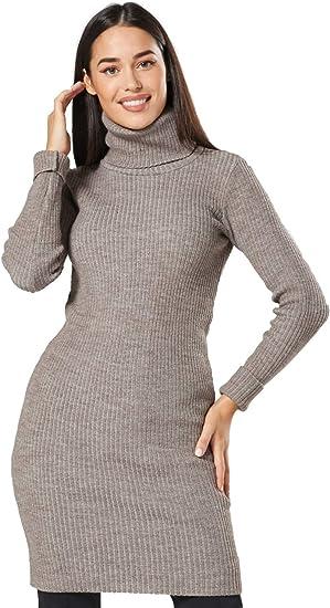 Ladies Long Sleeves Plain Polo Turtle Neck Stretch Midi Bodycon Dress Plus Size
