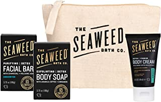 product image for The Seaweed Bath Co. Detox Facial + Body Bar Soap Duo & Body Cream Gift Set (Full size + trial size), Unscented + Awaken (Rosemary & Mint), Vegan, Paraben Free