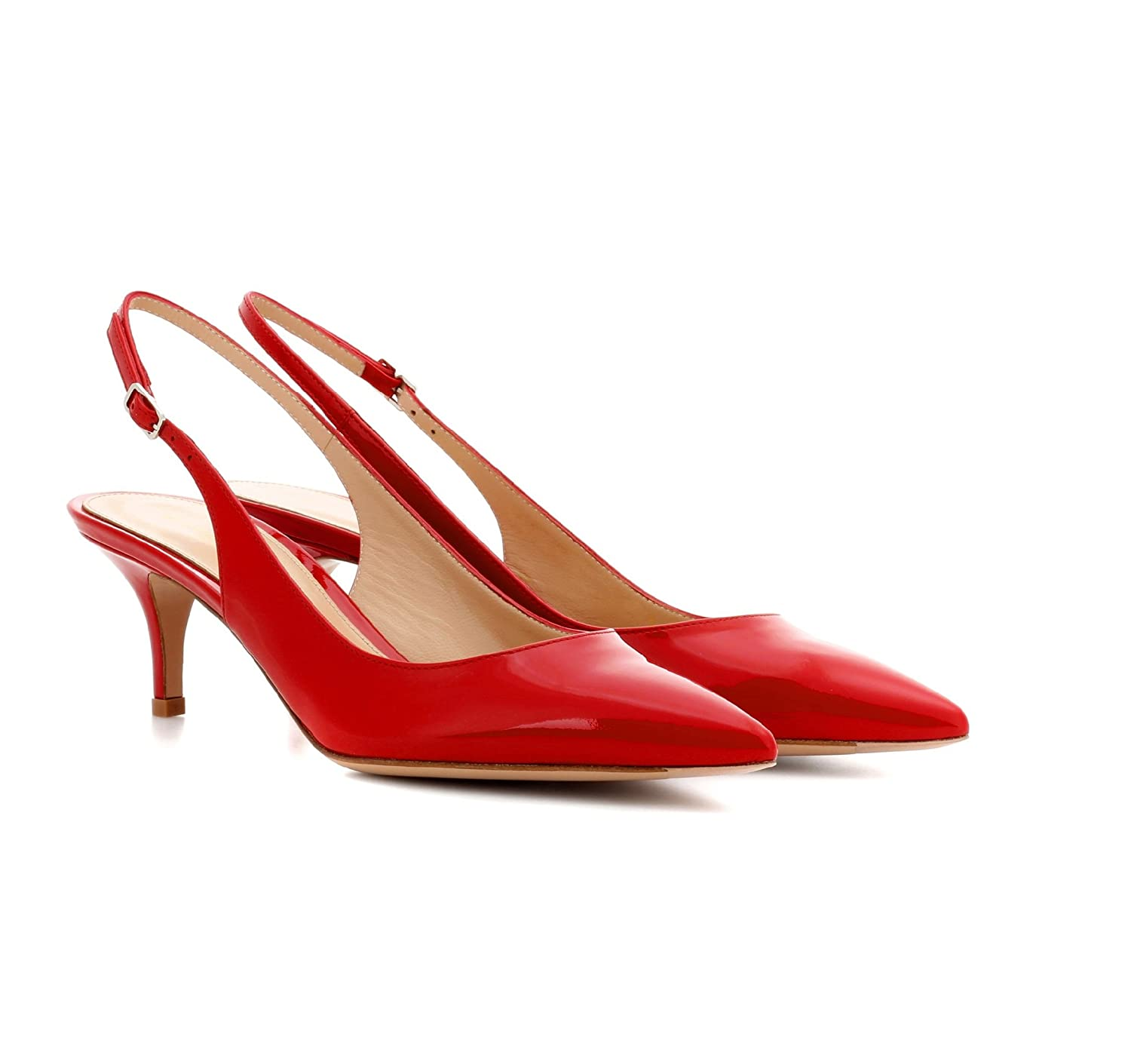 Sammitop Women's Pointed Toe Slingback Shoes Kitten Heel Pumps Comfortable Dress Shoes B077SC72YY 11.5 B(M) US|Red