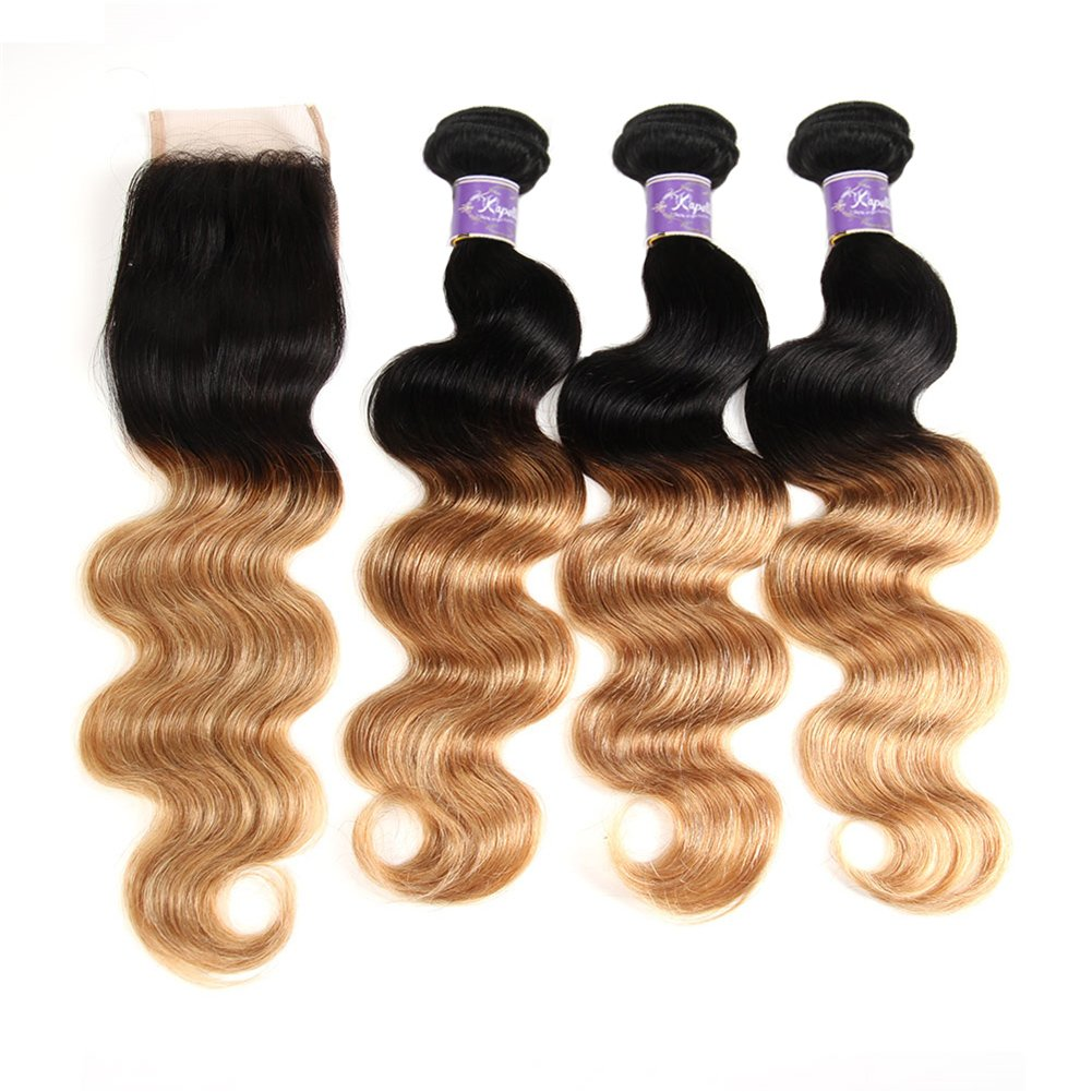 Ombre Brazilian Hair 3 Bundles With Closure, Ombre Human Hair Body Wave 3pcs With Lace Closure (20 22 24+18, #T1B/27) by Kapelli Hair (Image #7)