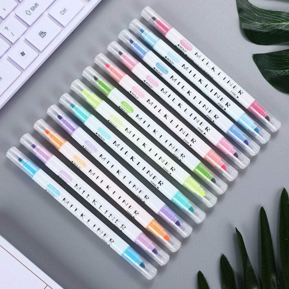 TOOLDO Lot de 12 surligneurs /à double t/ête pour calligraphie et dessin 12 couleurs assorties