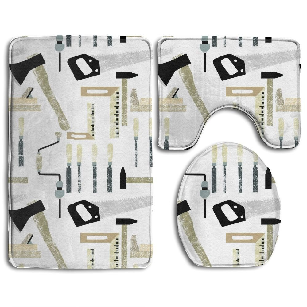 Feimao Wood Working Tools 3 PCS Non Slip Bath Rugs Set With Bath Rug Contour Mat Lid Cover
