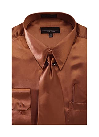 Men's Solid Color Satin Dress Shirt Tie and Hanky Set - Copper 14.5 32-33