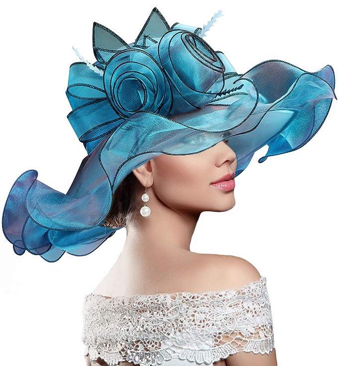 Sombrerode sol estilo Kentucky Derby con organza de flores plegable de ala ancha.