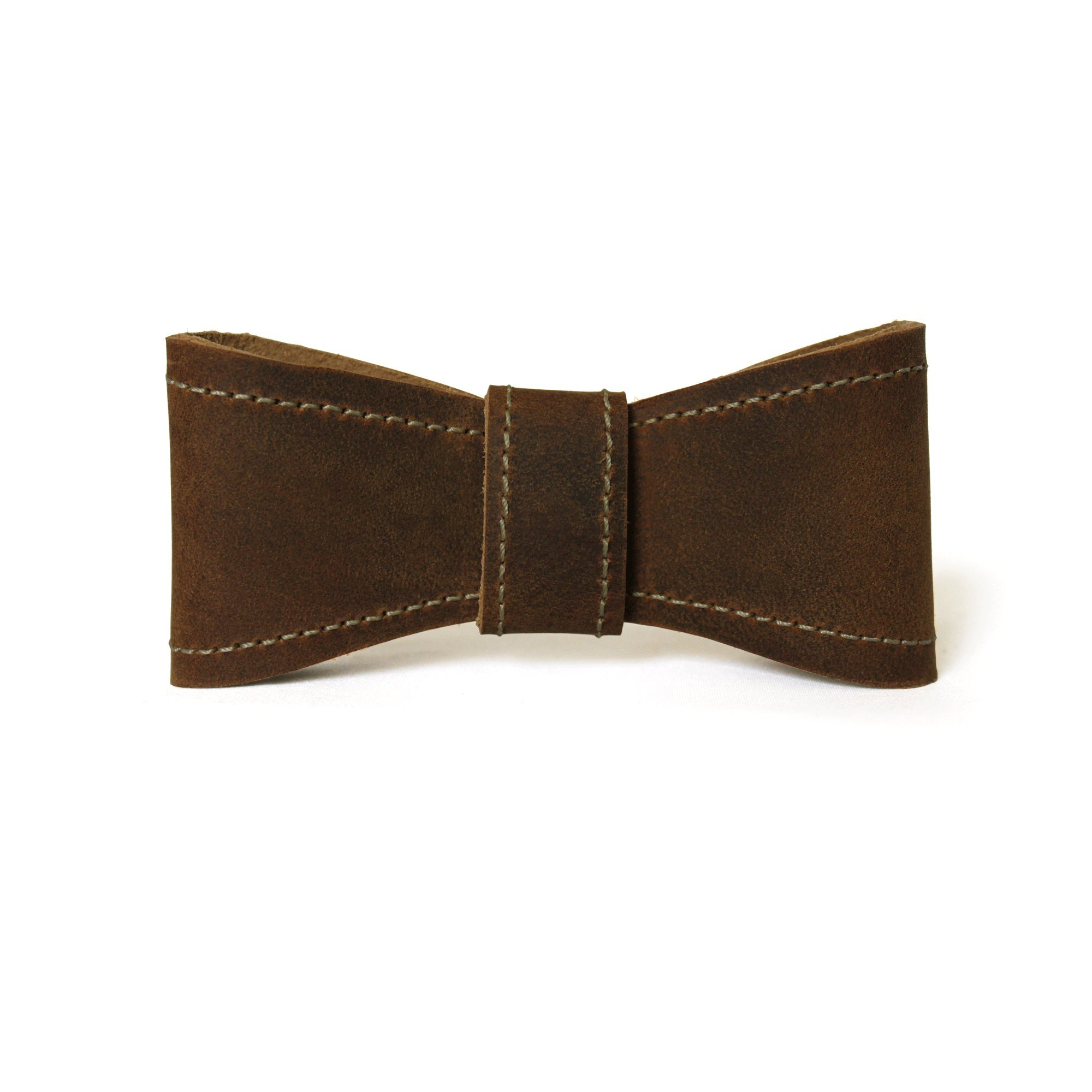 Assist Men's 100% Full Grain Leather Hand Crafted Bow Tie 20.5'' Crazy Horse Tan