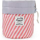 Drawstring Makeup Bag Portable Travel Cinch Top Compact Cosmetic Organizer for Women Girls Pink White