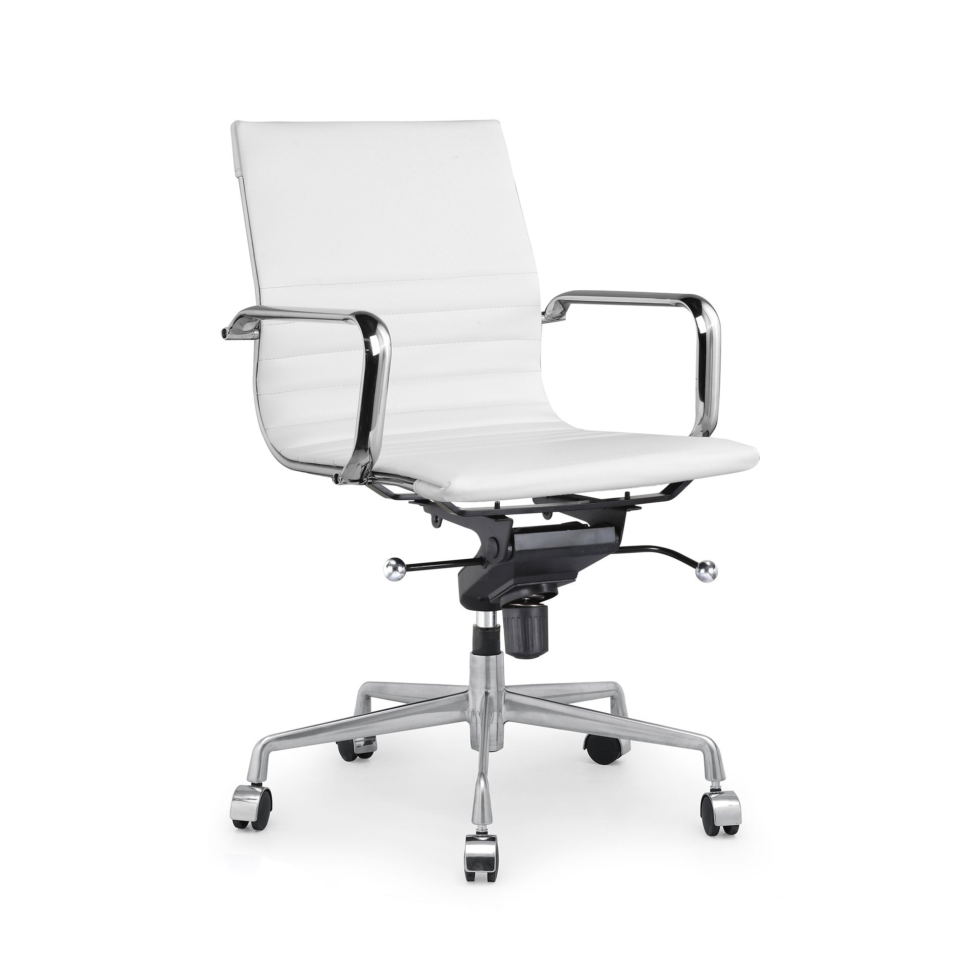 Design Lab MN LS-0009-WHTCRM Modern White Office Chairs, Set of 2,