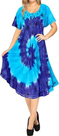 LA LEELA intage Rayon Floral Hecho a Mano Empate Tinte de Ropa de Playa Vestido Maxi Ocasional Azul