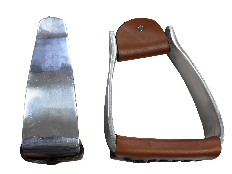 Heavy Duty Aluminium Angled Barrel Stirrups for Western Saddles   B01IFGXG9M