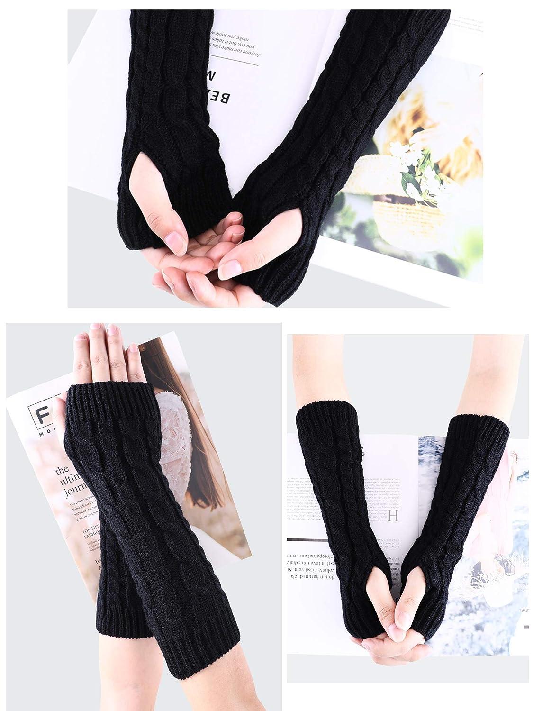 Tatuo 4 Paar Winter Fingerlose Handschuhe Lange Gestrickte Arm Warmers Frauen Handschuh mit Daumenloch Stretchy Stricken Warmer