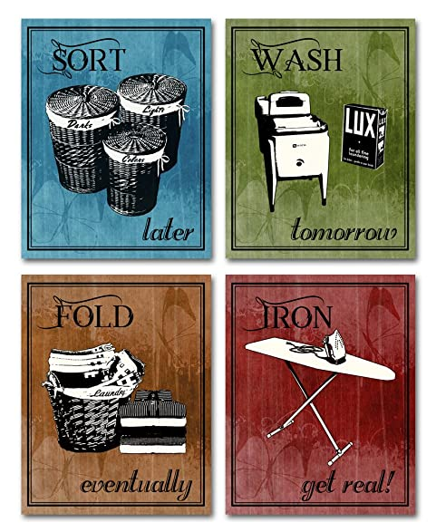 Laundry Room Art   Set Of Four 8 X 10 Decor Wall Art Prints   Great