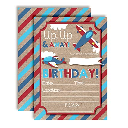 Up Away Airplane Themed Birthday Party Invitations Ten 5quotx7quot Fill In