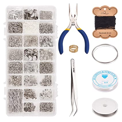 Beads & Jewelry Making Combination Suit Jump Ring Lobster Clasp Tail Chain Pliers Tweezers Diy Jewelry Findings Making Box With Jewelry Tool Beads Kit Clear And Distinctive