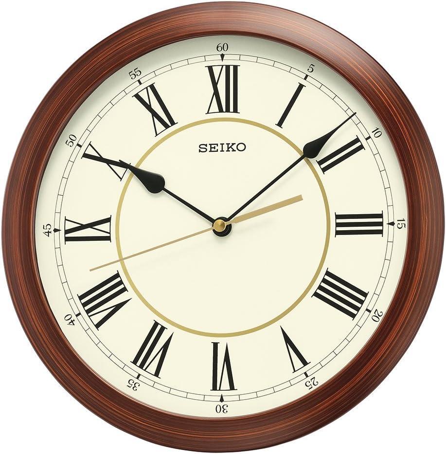 Seiko Round Wood Finish Wall Clock