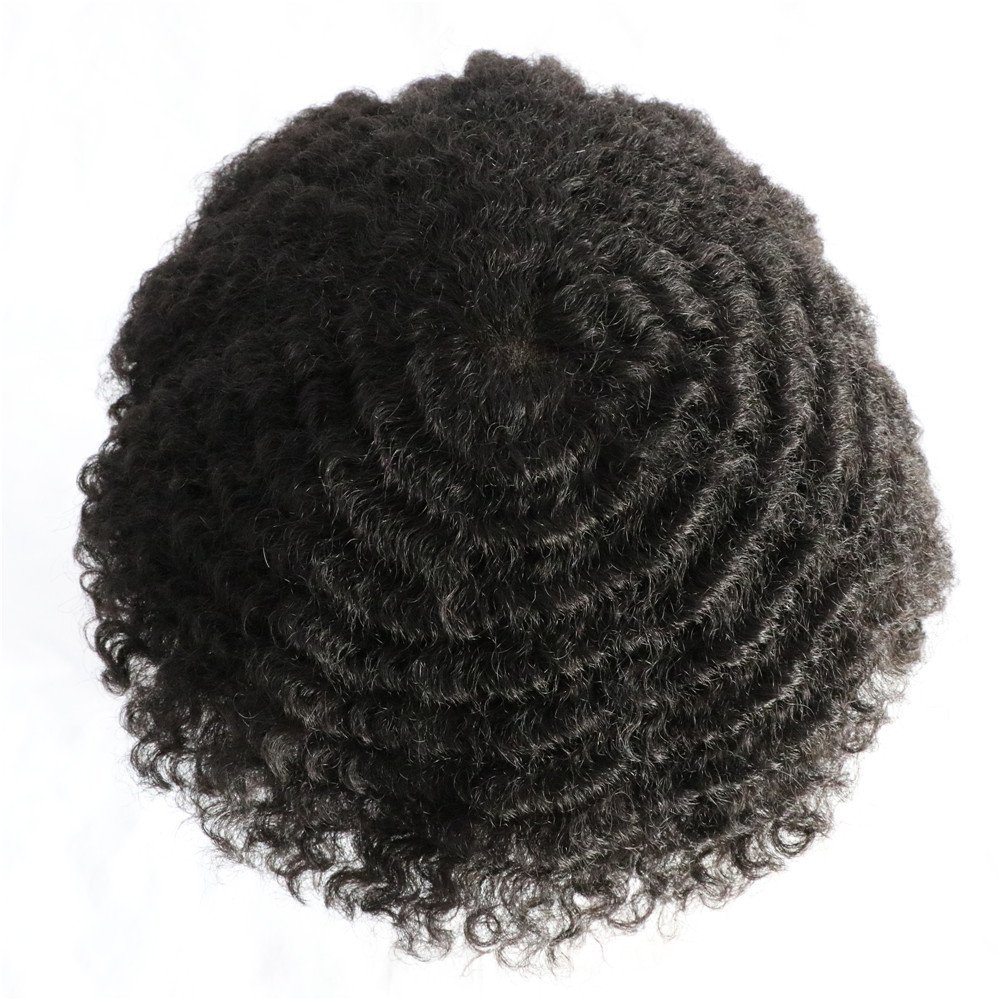 Lumeng AfroToupee For Men African American Wigs for Men 360 Wave Afro Mens Toupee Hairpiece Human Hair 8x10inch Replacement Invisible Pu Natural Looking African Curly Toupee1B System Replacement by Lumeng