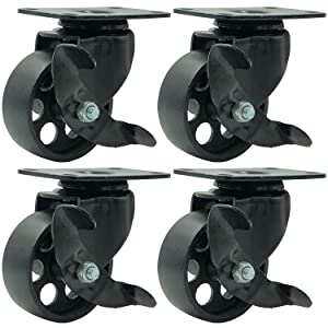 "FactorDuty 4 All Black Metal Swivel Plate Caster Wheels w/Brake Lock Heavy Duty High-Gauge Steel (3"" with Brake)"