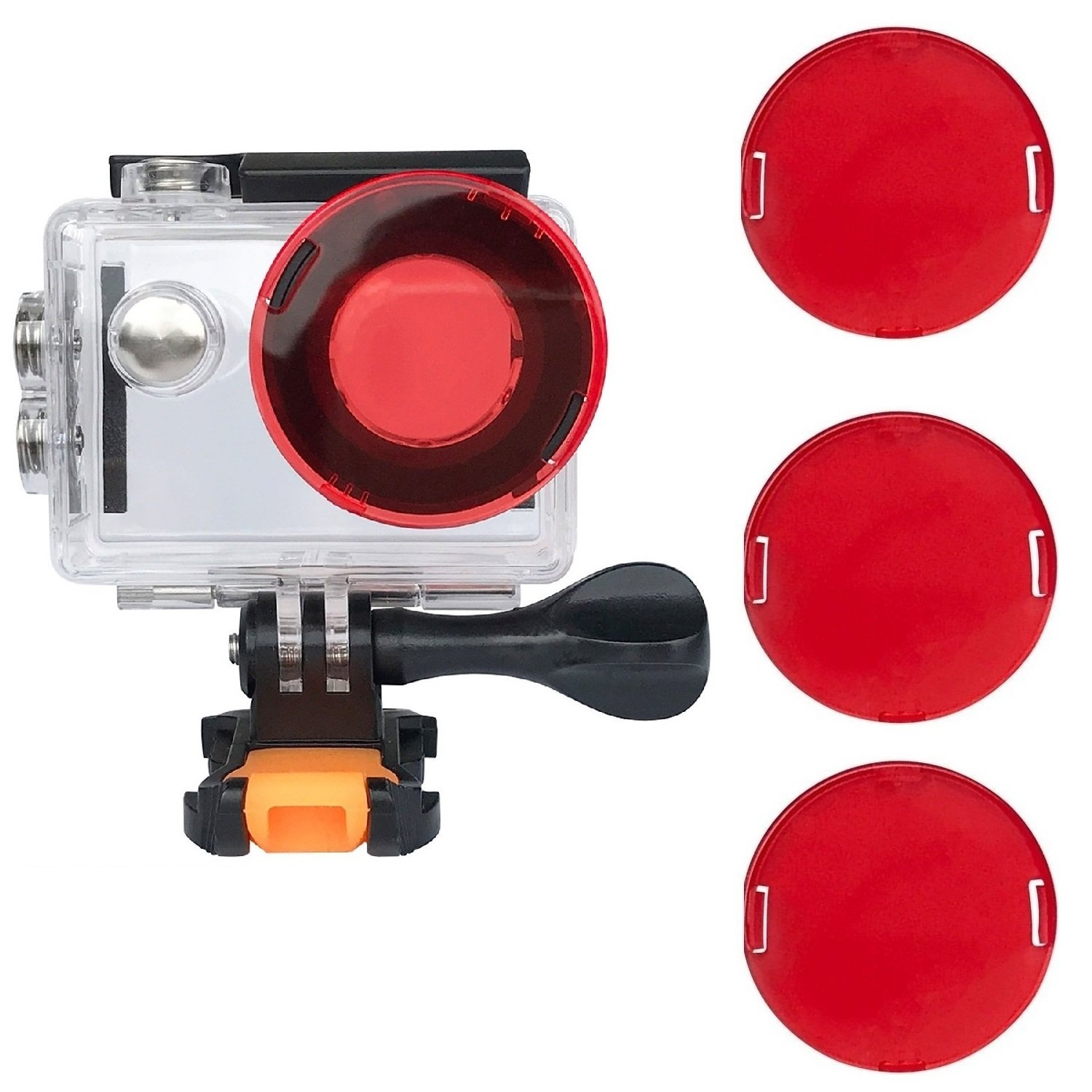 VVHOOY Waterproof Case Dive Housing Protective Underwater Dive Case Shell 3 Pack Red Filter Compatible AKASO EK7000/EKEN H9R/FITFORT/DROGRACE WP350 Action Camera by VVHOOY