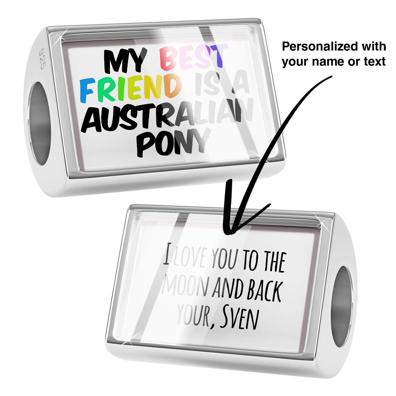 NEONBLOND Custom Charm My Best Friend a Australian Pony Horse 925 Sterling Silver Bead