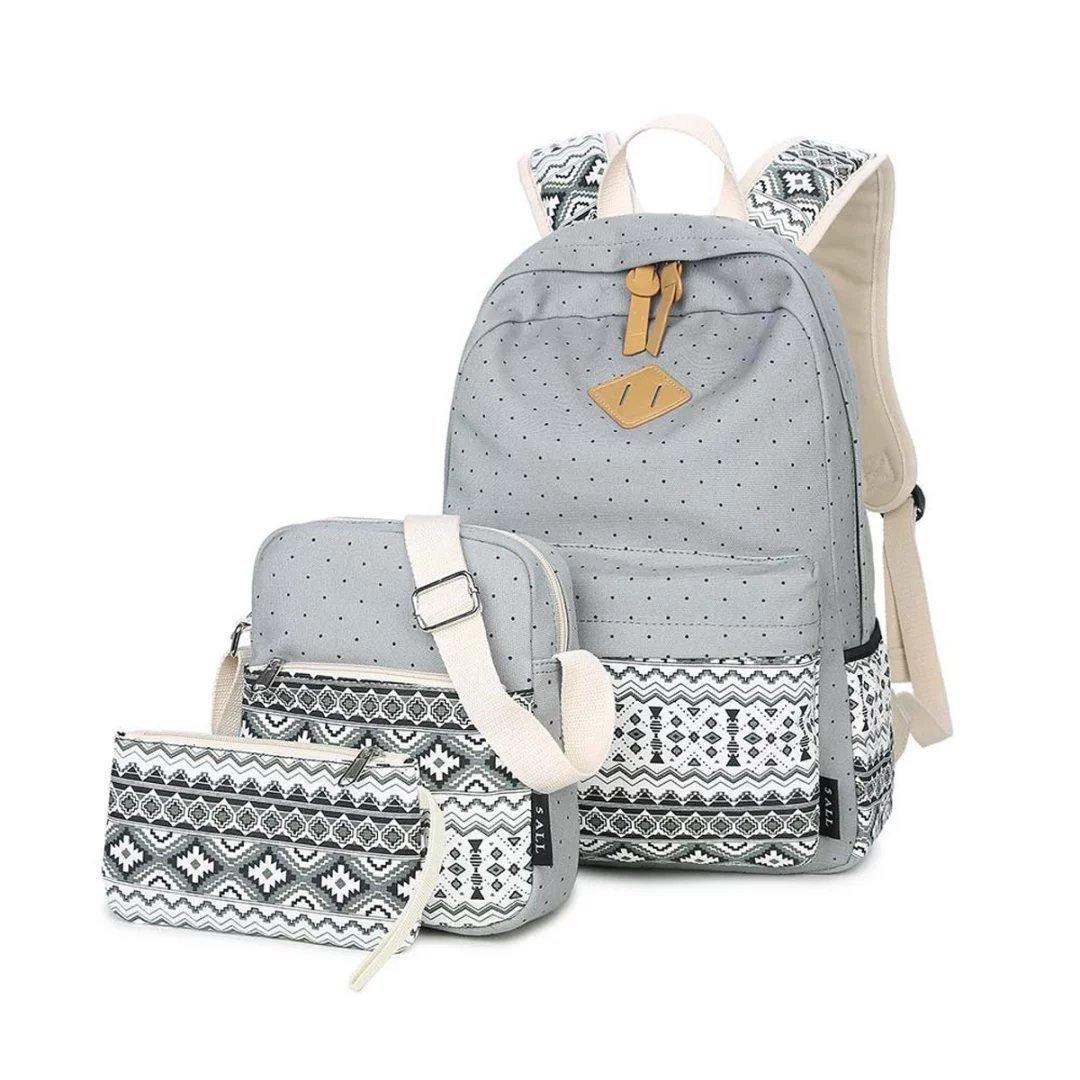 LABABE Canvas Backpack School Bags Set for Teens Girls, Casual Daypack + Shoulder Bag + Pencil Case - khaki
