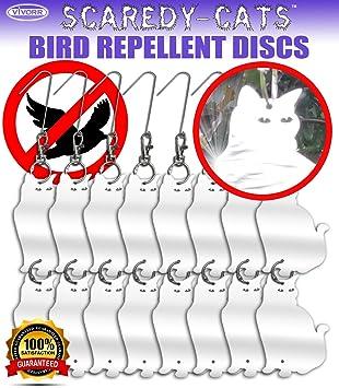 Bird Repellent Reflective Discs, Cat Shaped U0026quot;Scaredy Catsu0026quot; (16  Disks