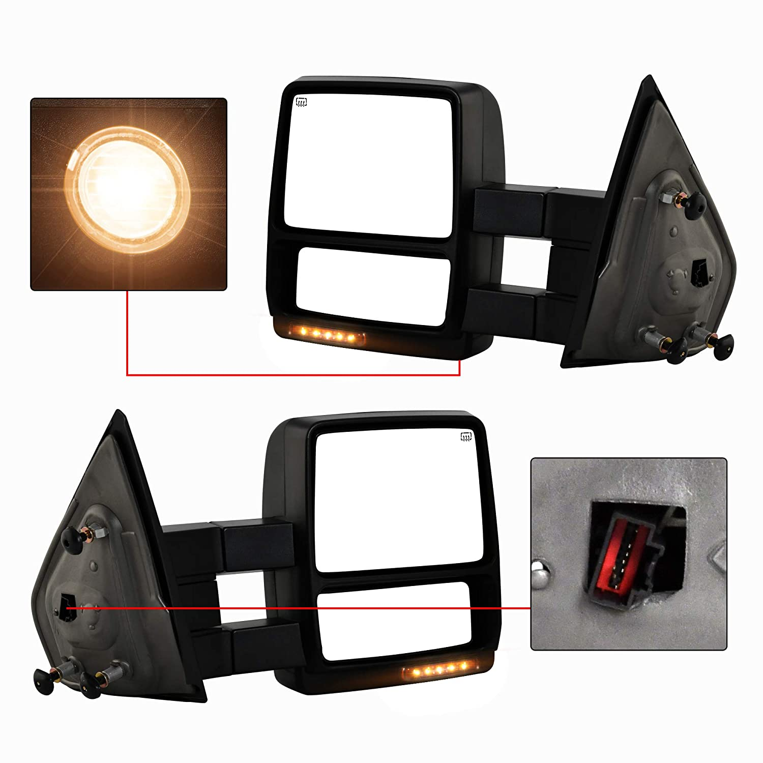 Make Auto Parts Manufacturing New Left//Driver and Right//Passenger Side Power Heated Manual Folding Tow Mirror Pair For Ford F150 2004-2006 FO1320242 FO1321321 FO1320321 FO1321242