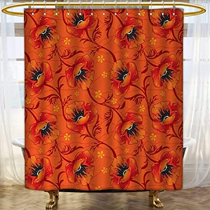 Anhounine Orange Shower Curtains With Hooks Poppy Flower Series Blossoms Romance Boho Chic Artistic Decor