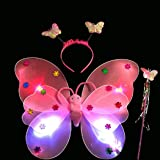 Kid Girl Fairy Lights Butterfly Wing Wand Headband Party Costume 3Pcs/Set