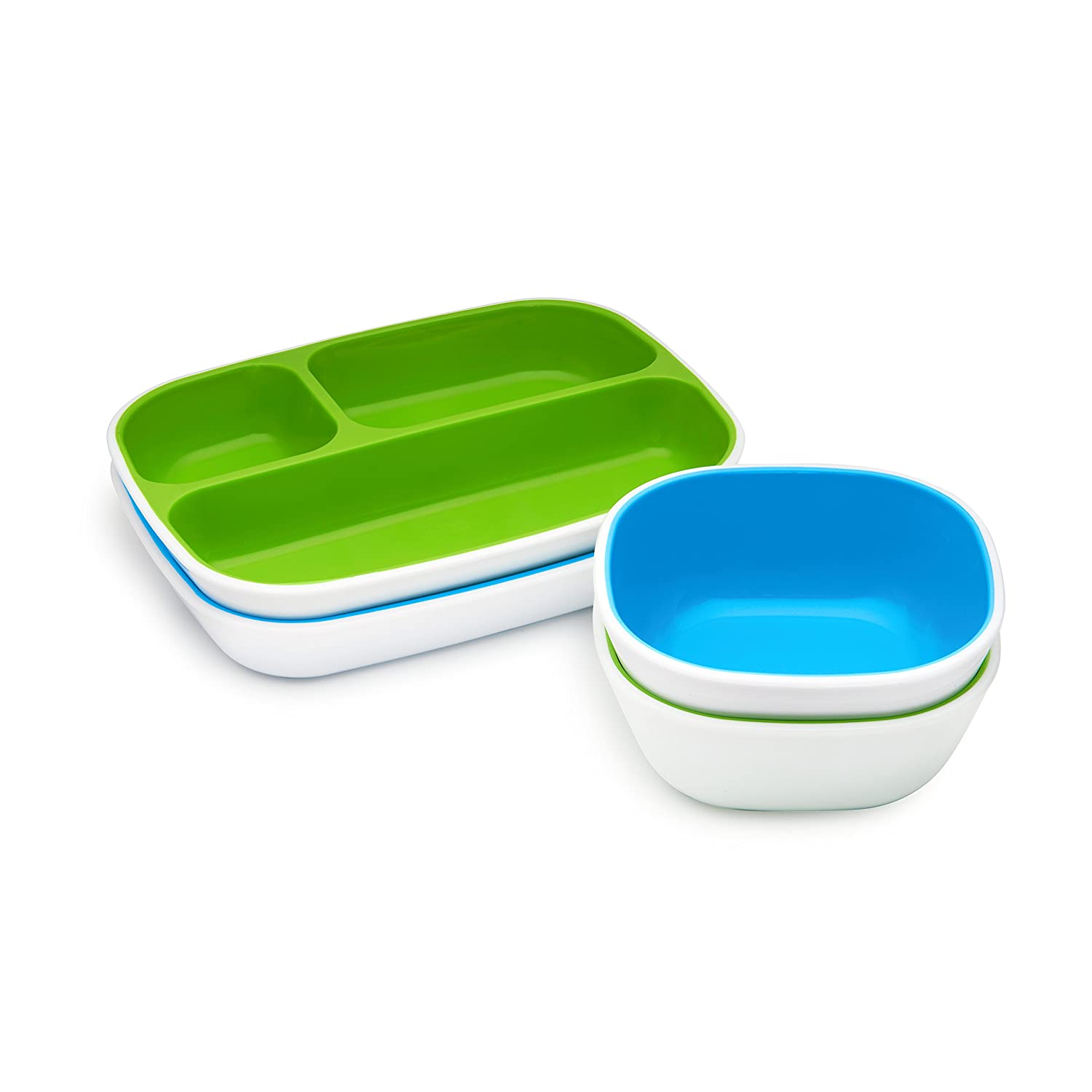 Munchkin Splash Toddler Divided Plate and Bowl Dining Set, Blue//Green, 4 Piece Inc. 27163