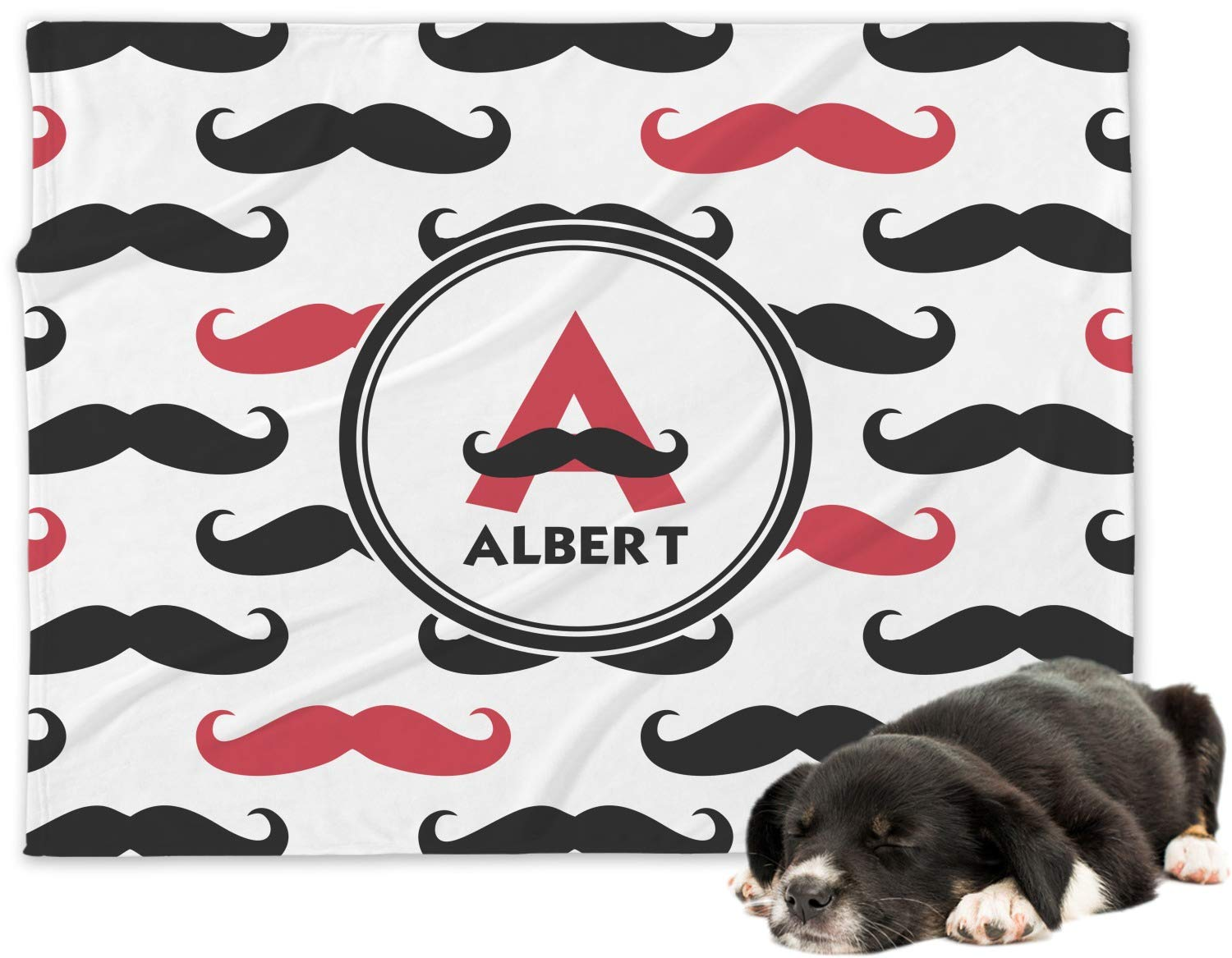 RNK Shops Mustache Print Minky Dog Blanket - Large (Personalized)