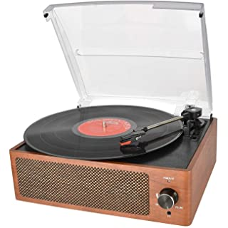 Bluetooth Record Player Belt-Driven 3-Speed Turntable, Vintage Vinyl Record Players Built-in Stereo Speakers, with Headphone Jack/ Aux Input/ RCA Line Out, Wooden