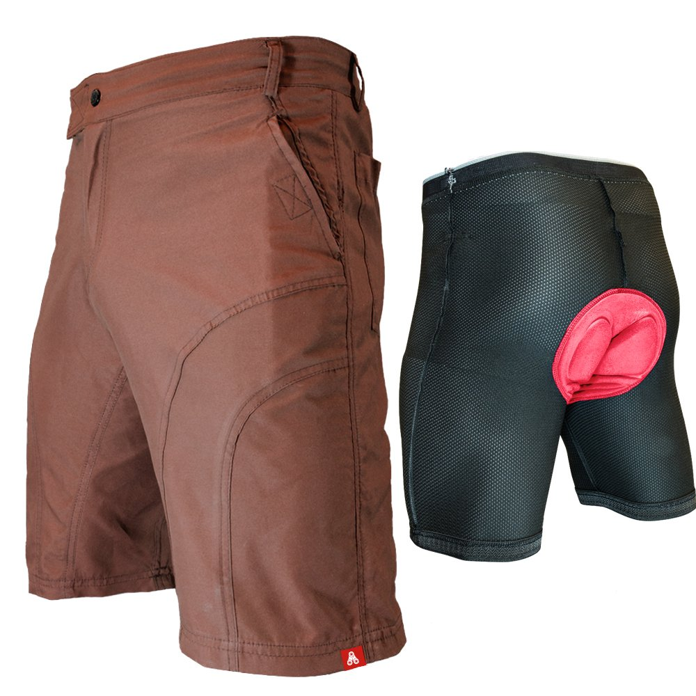 The Pub Crawler - Men's Loose-Fit Bike Shorts for Commuter Cycling or Mountain Biking, with Secure Pockets (Small, Brown - Bundle with Premium Antibacterial G-tex Padded Undershorts)