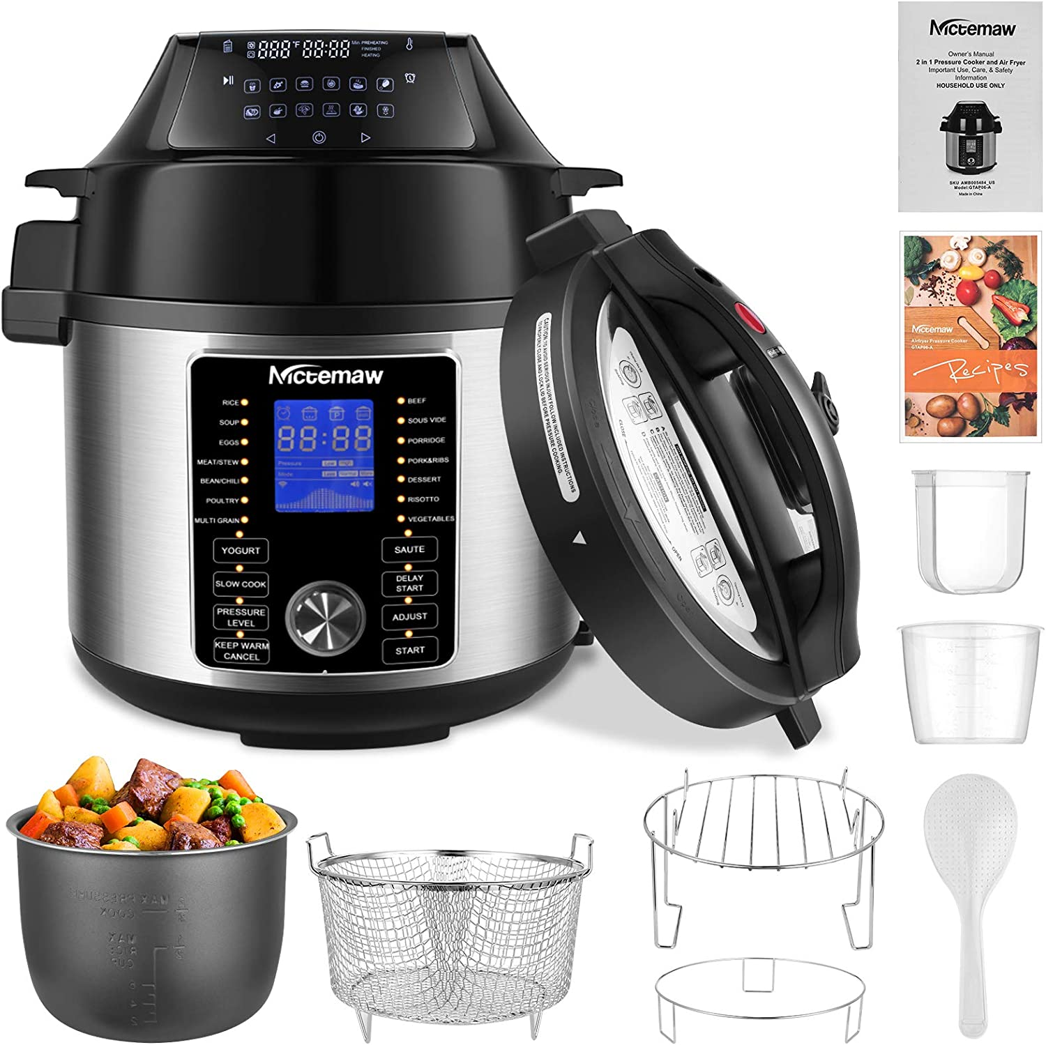 Nictemaw Pressure Cooker and Air Fryer Combos 6Qt, Multi-functional 17-IN-1 Pressure Rice Cooker &12-IN-1 Air Fryer 1500W with Two Detachable Lids, Two LCD Digital Control Panels, Free Recipe Book