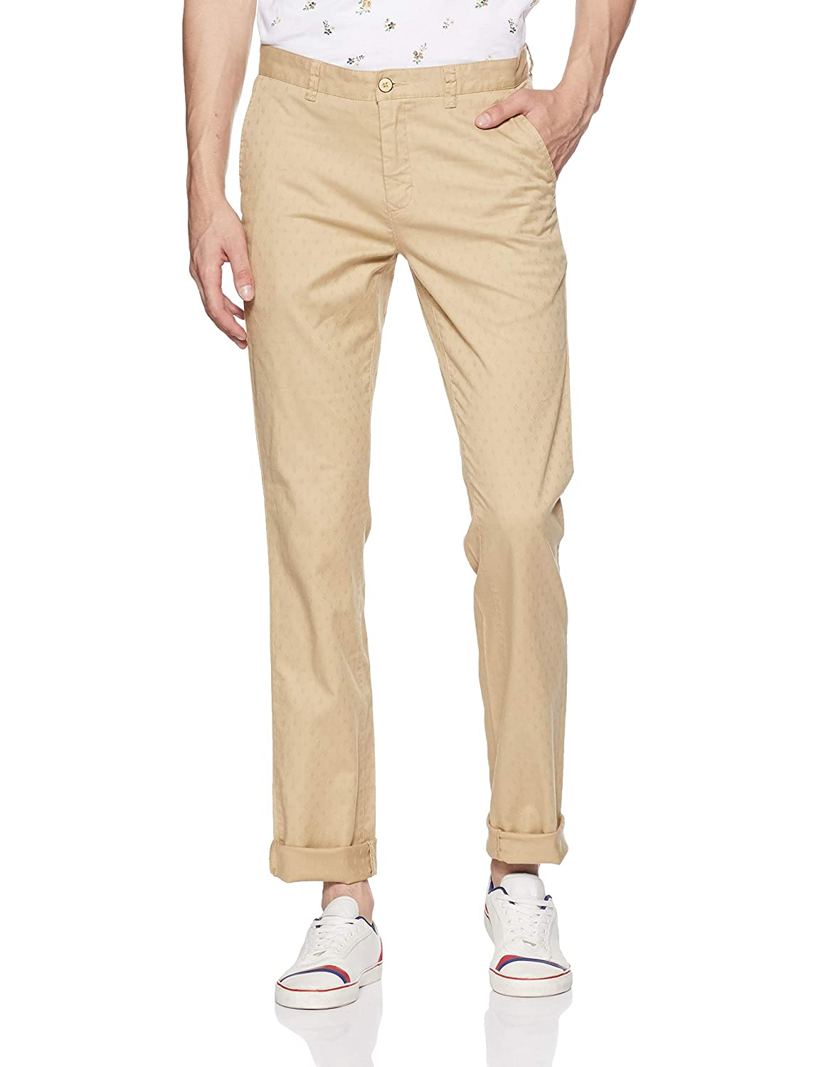 Color Plus Men's Slim Fit Casual Trousers